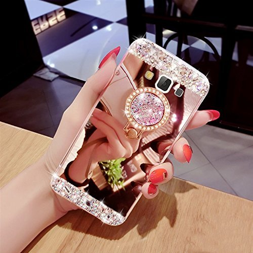 Galaxy J3 Case, Samsung Galaxy Amp Prime Case/Express Prime Case,XIHUA Luxury Crystal Rhinestone Soft Rubber Bumper Bling Diamond Glitter Mirror Makeup Case for Samsung Galaxy J3 - Rose Gold ()
