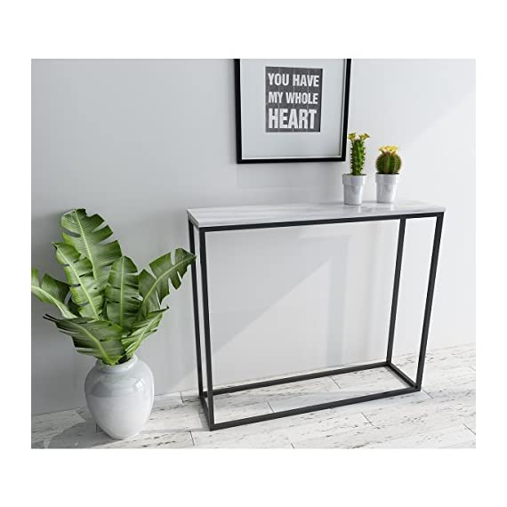 Roomfitters Sofa Console Table Marble Print Top Metal Frame Accent White  Narrow Foyer Hall Table,