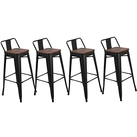 Surprising Muju 24 Low Back Bar Stools Counter Height Metal Stool With Wooden Seat Set Of 4 For Barstools For Kitchen Indoor Outdoor Matte Black Gamerscity Chair Design For Home Gamerscityorg