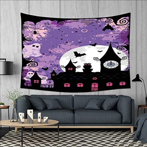 smallbeefly Vintage Halloween Tapestry Table Cover Bedspread Beach Towel Halloween Midnight Image with Bleak Background Ghosts Towers and Bats Dorm Decor 71