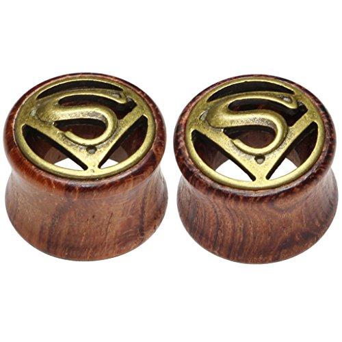 Logo Saddle Plug - 8mm 0g Superman Logos Organic Wood Flesh Tunnels Double Flared Ear Stretcher Saddle Plugs Gauge