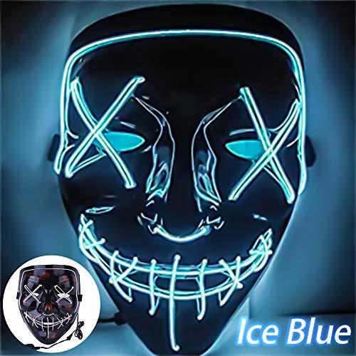 LED パージ ライト フライトニングマスク ワイヤー ハロウィン コスプレ フェスティバルパーティー用 (8色) 8.07` x 7` x 3.14` ブルー ZM018092110