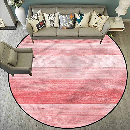 Living Room Area Round Rugs,Coral,Nostalgic Aged Oak Rustic,Super Absorbs Mud,4'11