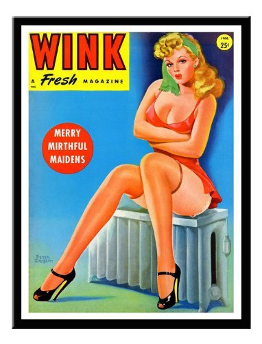 Iposters Wink Vintage Glamour Magazine Cover Print Magnetic Memo Board Black Framed - 41 X 31 Cms (approx 16 X 12 Inches)