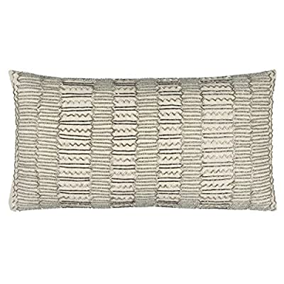 "Rizzy Home T12369 Decorative Lumbar Poly Filled Throw Pillow 11"" x 21"" Beige/Silver - Rizzy Home cushions offer a luxurious feel with a comfortable & warm touch, their modern designs will add a cohesive and interesting look to your design scheme Mix and match these decorative throws in all areas of the home both inside and out including sofa's, chairs, benches, beds, and floors. Add color and texture to any room or outdoor space. This pillows primary color is Beige with a secondary color of Silver - living-room-soft-furnishings, living-room, decorative-pillows - 5172SRlA9xL. SS400  -"