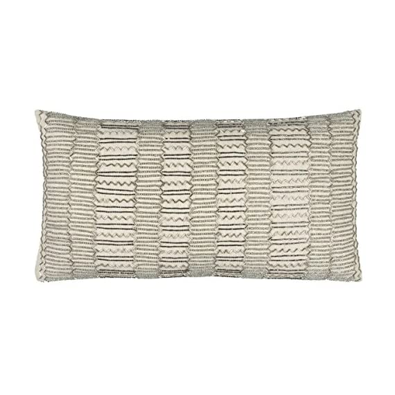 "Rizzy Home T12369 Decorative Lumbar Poly Filled Throw Pillow 11"" x 21"" Beige/Silver - Rizzy Home cushions offer a luxurious feel with a comfortable & warm touch, their modern designs will add a cohesive and interesting look to your design scheme Mix and match these decorative throws in all areas of the home both inside and out including sofa's, chairs, benches, beds, and floors. Add color and texture to any room or outdoor space. This pillows primary color is Beige with a secondary color of Silver - living-room-soft-furnishings, living-room, decorative-pillows - 5172SRlA9xL. SS570  -"