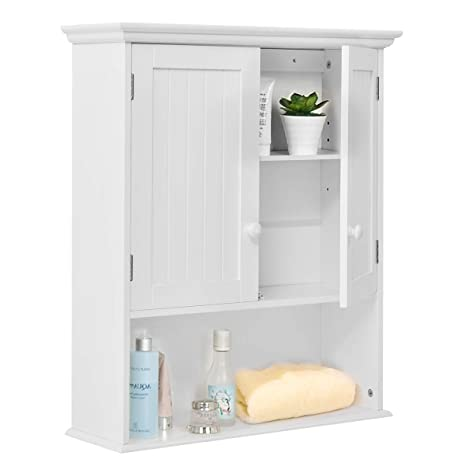 TANGKULA Wall Mount Bathroom Cabinet Wooden Medicine Cabinet Storage  Organizer with 2-Doors and 1- Shelf Cottage Collection Wall Cabinet White