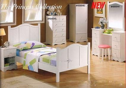 Amazon Com Princess Collection Twin White Kids Bedroom Set Vanity
