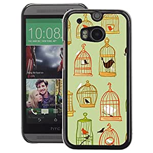 A-type Arte & diseño plástico duro Fundas Cover Cubre Hard Case Cover para HTC One M8 (Cage Deep Green Pastel Meaning)