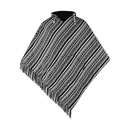 virblatt - Baja Poncho for Men Ponchos Mexican Mens Hippie Hoodie Jerga Black Cotton Boho Sweater Abajo bk