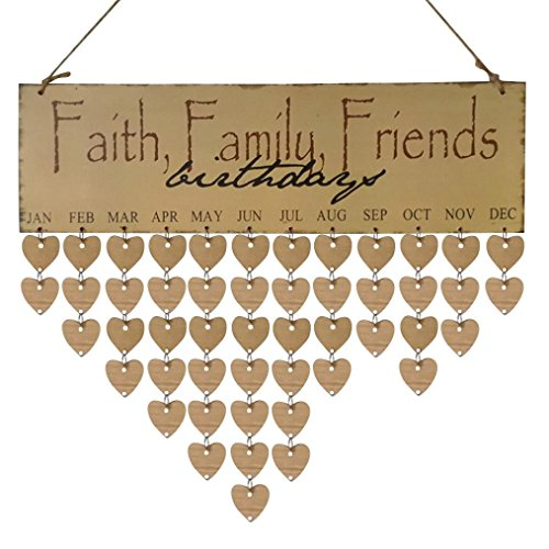 Anniversary Reminder Nesee Wood Birthday Reminder Board Birch Ply Plaque Sign Family  Friends Diy Calendar  B