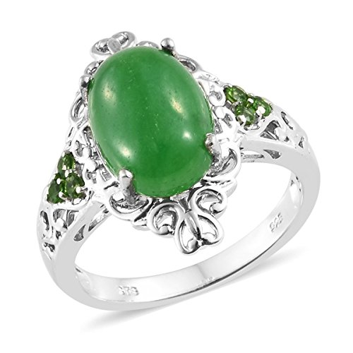 - 925 Sterling Silver Platinum Plated Oval Green Jade, Chrome Diopside Fashion Ring for Women Size 6