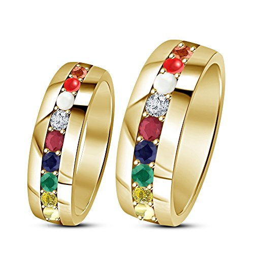 TVS-JEWELS 14K Gold Plated 925 Sterling Silver Navratna/couple Ring Set Round Cut Multi CZ For Wedding (6.5) by TVS-JEWELS