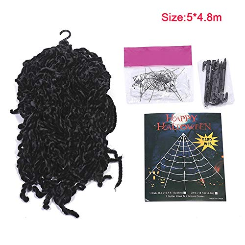 Carole4 Decorative Spider Web Triangle Net Fake Cobweb DIY Halloween Decoration Props Set Tricky Toy for Outdoor or Indoor Decor(54.8m,Black)]()