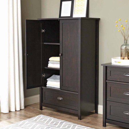 Armoire Wardrobe Closet Cabinet adjustable shelves Frame and panel drawer with metal runners and safety stops features patented T-lock wood 33.31L x 18.58W x 56.97H In 1-year limited warranty