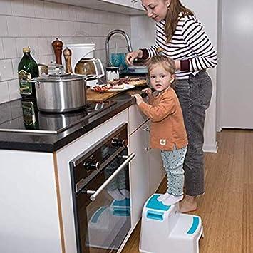 MonLook 2 Step Bambino Sgabello Sicurezza Resistente allo Scivolamento Impugnatura Morbida per Bagno WC Vasetto Allenamento
