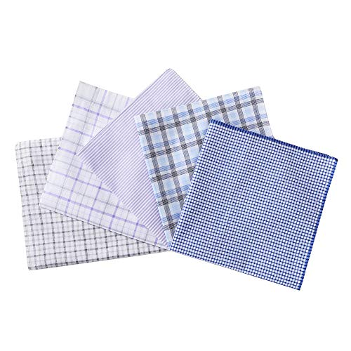 (H.FaceSSS Men's 100% Soft Cotton Handkerchiefs White and Blue with Plaid Pack of 5)