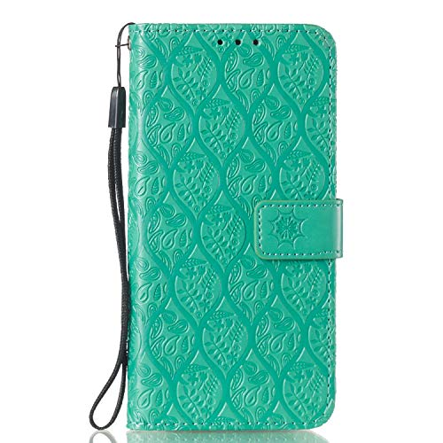 For Huawei Honor 10 Lite Wallet Case [Free Screen Protector],Magnetic Flip with Cards Slot Cash Pockets Embossed Rattan Flowers Pattern Soft Silicone Cover for Huawei Honor P Smart 2019,Green by Funyye (Image #3)
