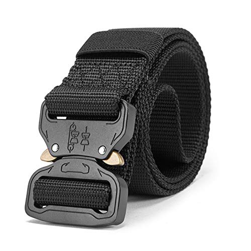 (VBliyon Nylon Belt Men Army Tactical Belt Military SWAT Combat Belts,Black,125cm)