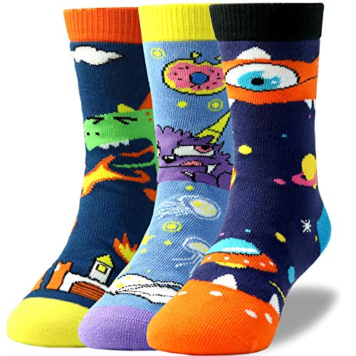 Kids Boys Novelty Fun Cute Crazy Animal Cartoon Monster Soft Combed Cotton Crew Socks Pack of 3 (Woven Kids Socks)