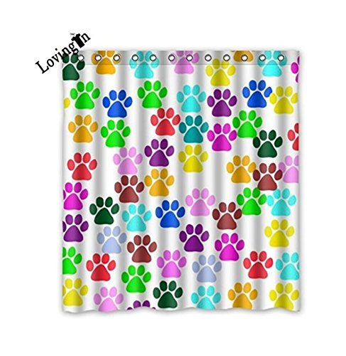 Waterproof Bathroom Shower Curtain with Rings with Colorful Animal Paw Art Dog Paw Print Design,66x72inch (Wild Animal Paw Prints)