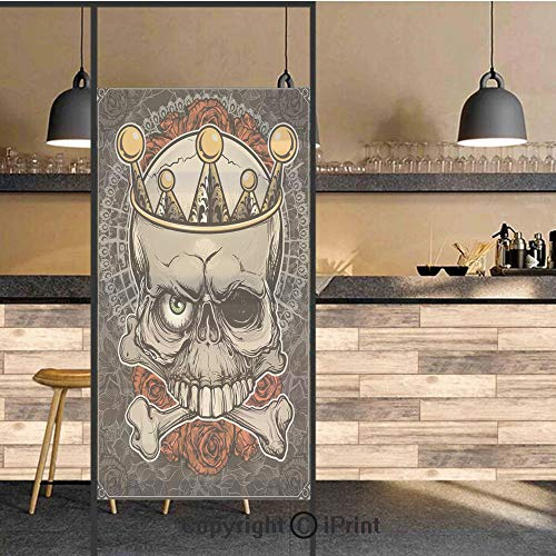 3D Decorative Privacy Window Films,Skull with Crown Roses