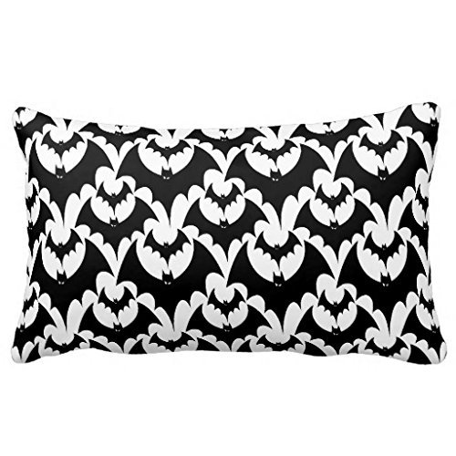 Standard Pillowcase Decorative Black and White Bats Goth Halloween Pattern Pillow Sham 20X36 inches Grunter ZA100314108