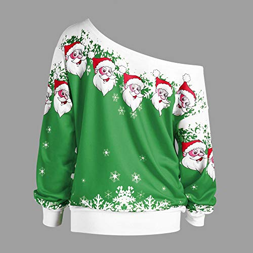 Amazon.com: iDWZA Womens Christmas Santa Claus Snowflake Print Skew Collar Sweatshirt Tops: Clothing