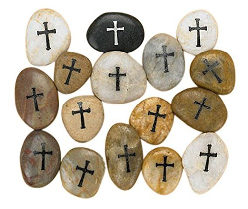 Etched Cross on Inspirational Pocket Stone Rocks, Assorted Color, Box of 12
