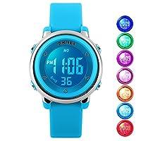 Reloj infantil Reloj multifunción 50M impermeable LED Alarma Cronómetro reloj digital para niño niña azul