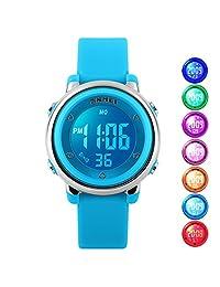 USWAT® Children Digital Watch Outdoor Sports Watches Boy Kids Girls LED Alarm Stopwatch Wrist watch Children's Dress Wristwatches Blue