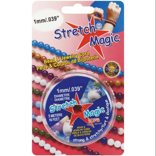 Magic Stretchy - Pepperell SMJ-2-5 1mm Stretch Magic Bead and Jewelry Cord, 5m, Pearl