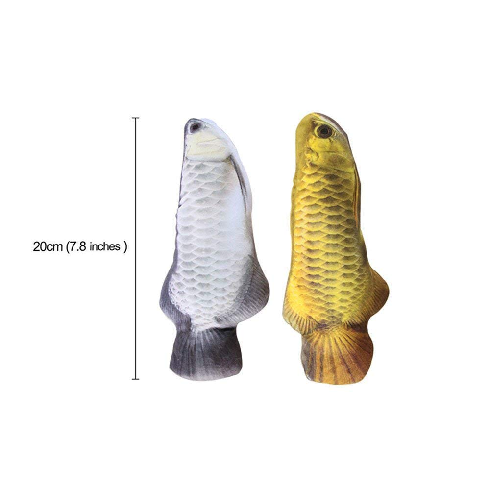 Catnip Toys Set Simulation Fish Shape Doll Interactive Pets Pillow Chew Bite Supplies for Cat/Kitty/Kitten Fish Flop Cat Toy Catnip Crinkle Toys 2PCS