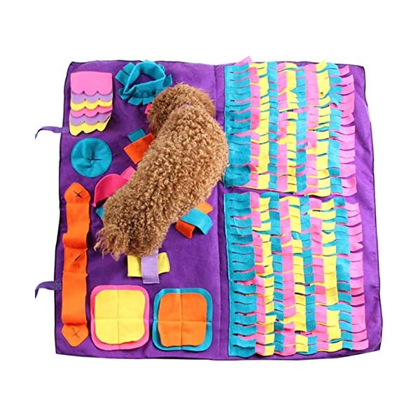 Pet Snuffle Mat Dog Foraging Mat Non-slip Dog Sniffing Mat Feeding Mats Training Mats Pet Training Feeding Stress Release Pad Nosework Blanket Washable Soft Interactive Puzzle Toy for Dog Cat 90cm 1