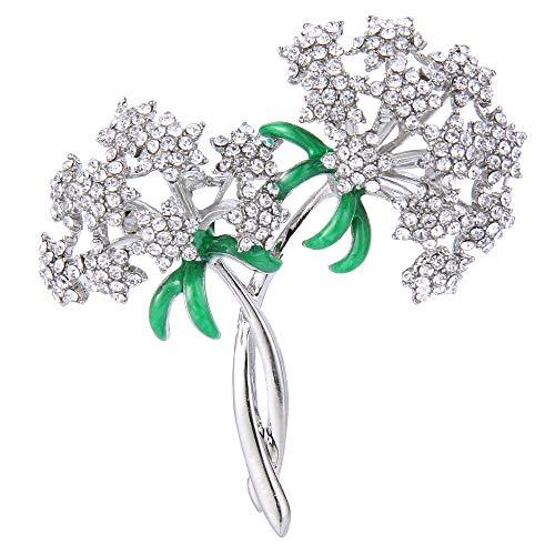 (EVER FAITH Silver-Tone Austrian Crystal Enamel Gorgeous Dual Gypsophila Flowers Bouquet Brooch Clear)