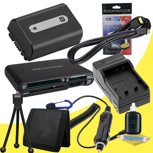 NPFH50 Lithium Ion Replacement Battery w/Charger + Mini HDMI + USB SD Memory Card Reader /Wallet + Deluxe Starter Kit for Sony DCRDVD508, DCRDVD408, DCRDVD308, DCRDVD108, DCRDVD505, DCRDVD405, DCRDVD305, DCRDVD205, DCRDVD105, DCRDVD403, DCRDVD203, DCRDVD1 by DavisMAX