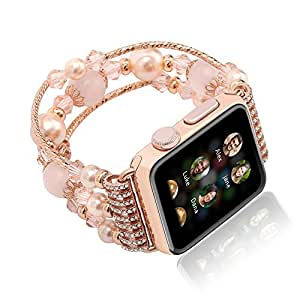 Apple Watch Band, Xultrashine Fashion Handmade Elastic Stretch Faux Pearl Natural Stone Women Girls iWatch Bracelet Strap WristBand Replacement for Apple iWatch Series 3/2/1 Sport (Pink 42mm)