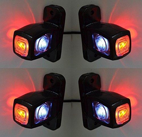 4 luces LED de color rojo y blanco naranja, 12 V, 24 V, para camioneta de caravana VNES