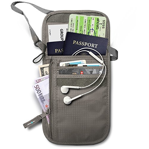 RFID Blocking Neck Stash Passport , Unisex , Grey
