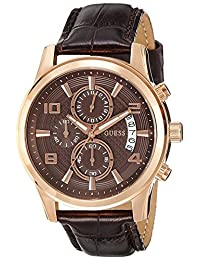 Guess W0076G4 44.5mm Stainless Steel Case Brown Leather Mineral Men's Watch