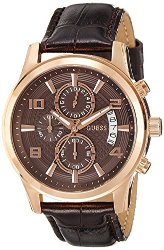 Guess Men's W0076G4 Stainless Steel Watch with Brown Leat...