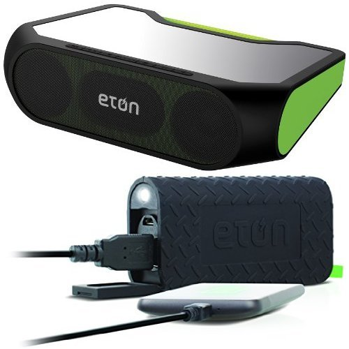 Eton Rugged Rukus Xtreme All-Terrain Portable Solar Wireless Sound System (Green) with Free External Battery Bundle