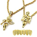 4 piece gold grill - Mens Gold Plated High Fashion Bottom Grillz w/ 2 Angels Pendants Set 4mm 30