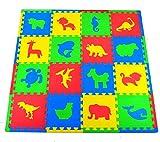 PeeNoke Toy 16 PCs Kids Puzzle Play Mat with Farm Animals, Safari Animals, Sea Life, Dinosaur Patterns