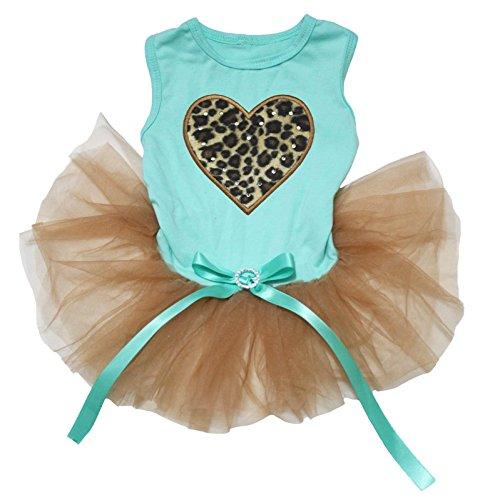 Petitebella Leopard Heart Aqua Blue Cotton Shirt Gold Tutu Puppy Dog Dress (Small) ()