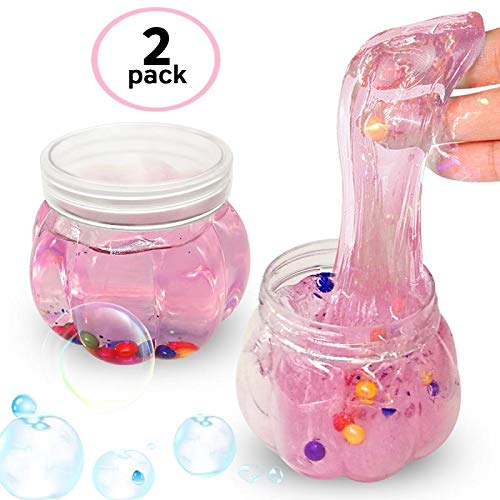 Lilizhou Clear Crystal Mud Toy Putty Making Kit for Kids and Adults, Stretchy Slime Stress Relief for girls, Super Soft and Non-Sticky, 2 Pack