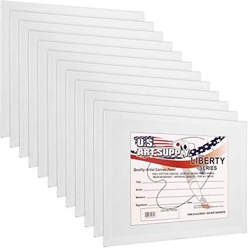 US Art Supply 9 X 12 inch Professional Artist Quality Acid Free Canvas Panel Boards for Painting 12-Pack (1 Full Case of 12 Single Canvas Board Panels)