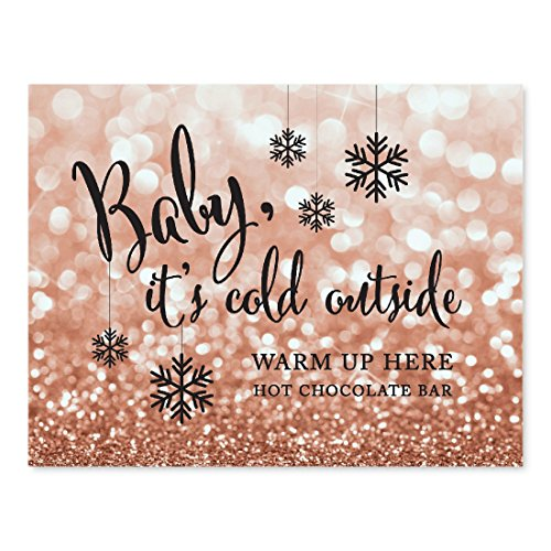 (Andaz Press Wedding Party Signs, Glitzy Rose Gold Glitter, 8.5x11-inch, Baby It's Cold Outside, Warm Up Here, 1-Pack, Bokeh Colored Party Supplies, Hot Chocolate Bar Dessert Tale Sign)