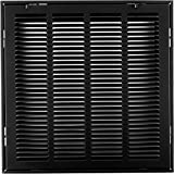 14'' X 14 Steel Return Air Filter Grille for 1'' Filter - Removable Face/Door - HVAC DUCT COVER - Flat Stamped Face - Black [Outer Dimensions: 16.5''w X 16.5''h]