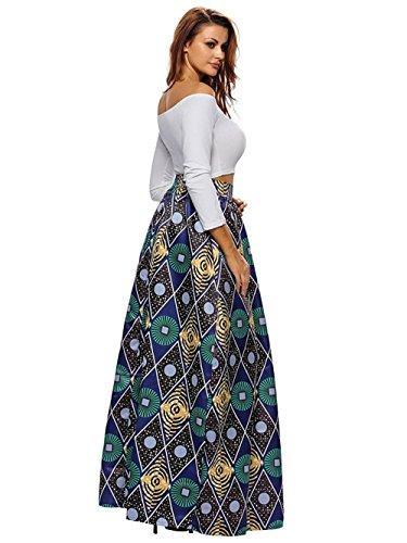 Multisize africane Gonna stampa donne Cerchio linea Chic casuale Una 9 floreale SheShy 58BRqw